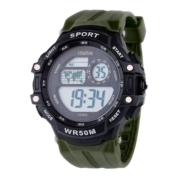 Электронные мужские часы «iTaiTek» с зелёным каучуковым ремешком купить. Цена 375 грн
