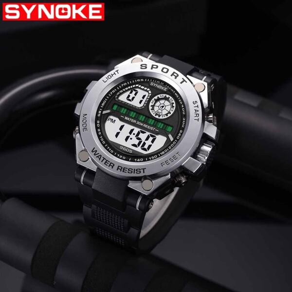 Крупные электронные часы «Synoke» с чёрным силиконовым ремешком купить. Цена 399 грн