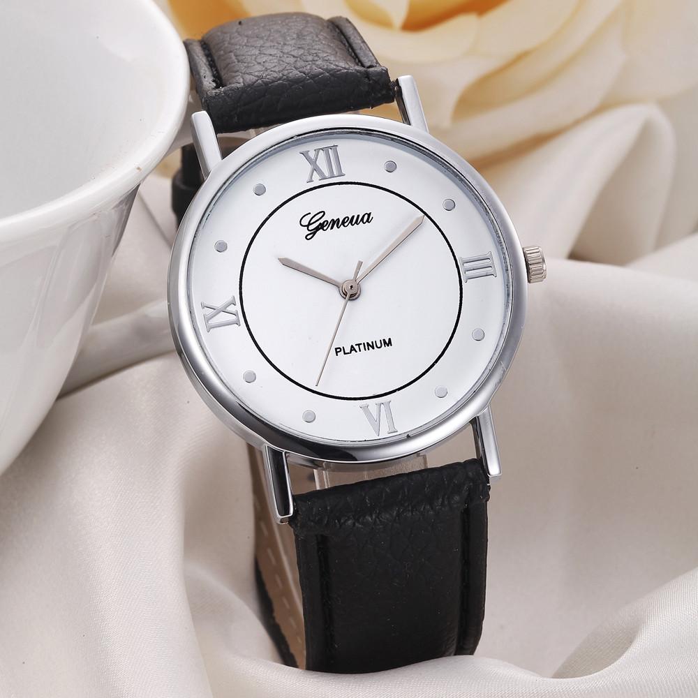 Деловые женские часы «Geneva» с римскими цифрами и чёрным ремешком купить. Цена 235 грн