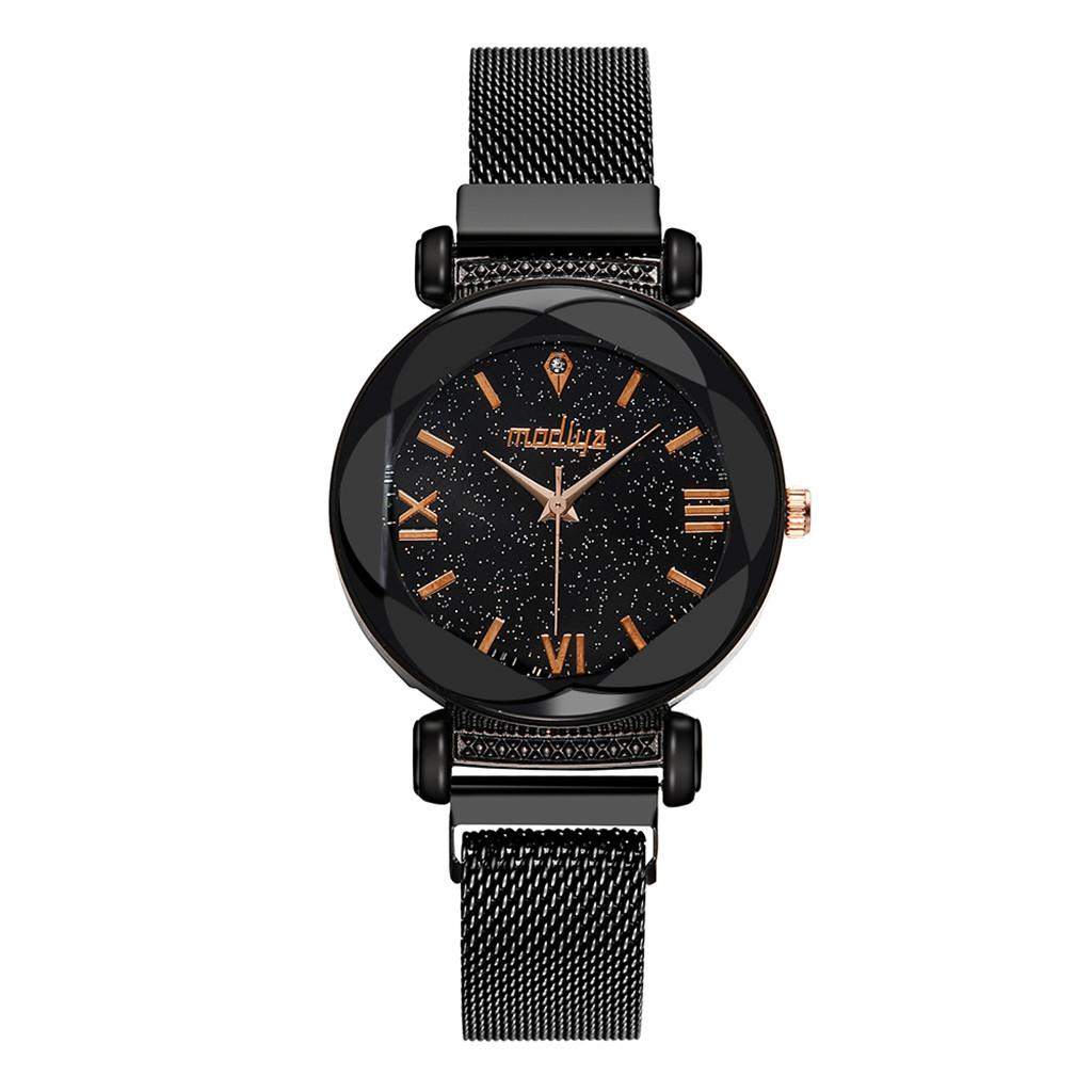 Чёрные женские часы «Madiya Starry Sky» с металлическим ремешком с магнитной застёжкой купить. Цена 385 грн