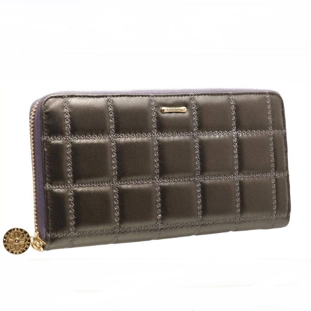 Стёганый женский кошелёк «Cossroll» серого цвета из мягкой кожи купить. Цена 685 грн
