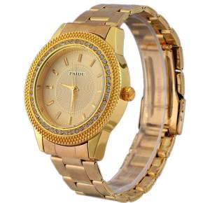 Богатые женские часы «Paidu» с красивым корпусом со стразами и золотистым браслетом купить. Цена 335 грн