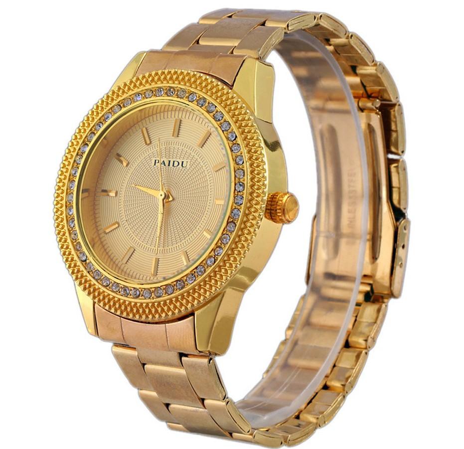 Богатые женские часы «Paidu» с красивым корпусом со стразами и золотистым браслетом купить. Цена 399 грн