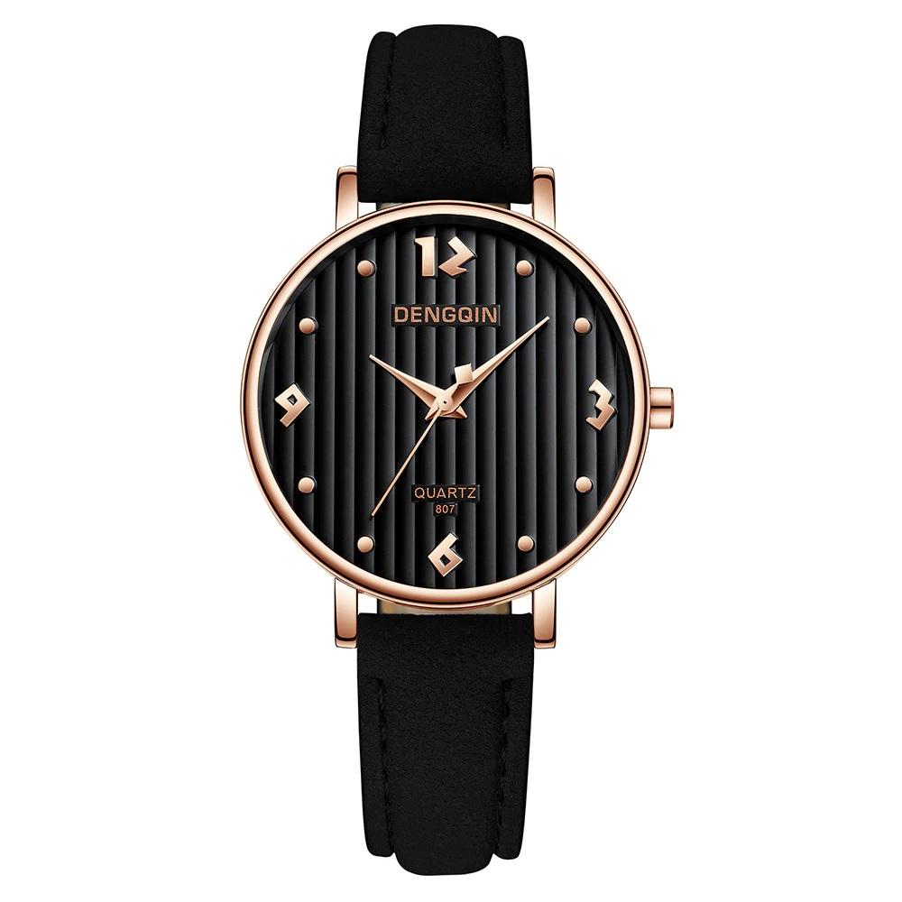 Круглые чёрные часы «Dengqin» с красивым циферблатом и чёрным ремешком купить. Цена 299 грн