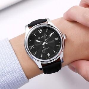 Отличные мужские часы «Cuena» с чёрным циферблатом в серебристом корпусе купить. Цена 440 грн