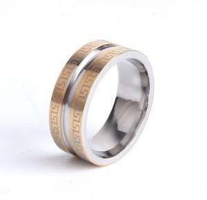 Стальное кольцо «Gedeon» с греческим орнаментом и широкой бороздой в центре купить. Цена 165 грн или 520 руб.