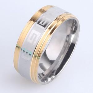 Двухцветное кольцо «Gedeon» из хирургической стали с канавками и гравировкой купить. Цена 165 грн
