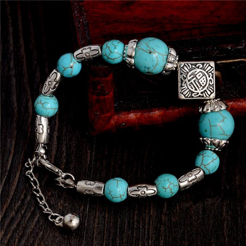 Уникальный браслет-оберег в тибетском стиле с бирюзовыми бусинами купить. Цена 115 грн