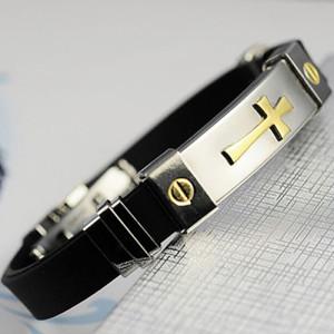 Классный браслет «Кардинал» из силикона со вставкой из нержавеющей стали с изображением креста купить. Цена 175 грн