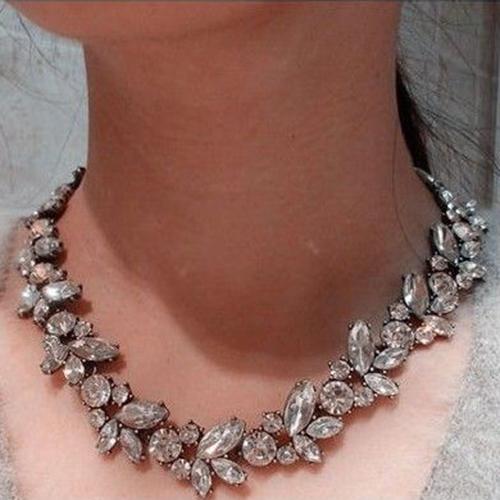 Хрустальное ожерелье «Миранда» с крупными прозрачными камнями в тёмной металлической оправе купить. Цена 199 грн