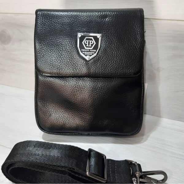 Крутая мужская сумка «Phillip Plein» из мягкой зернистой кожи чёрного цвета купить. Цена 2290 грн