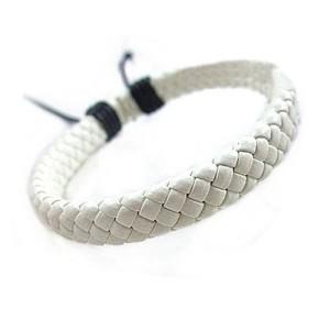 Белоснежный браслет «Плетёночка» из искусственной кожи с чёрным скользящим замком фото. Купить