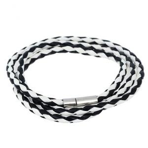Чёрно-белый браслет «Плетёночка тонкая» из искусственной кожи с игольчатым замочком купить. Цена 49 грн