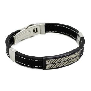 Интересный мужской браслет из чёрного силикона со вставками из нержавеющей стали фото. Купить