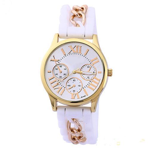 Крупные часы «Geneva»с белым силиконовым ремешком со вставкой в виде цепочки купить. Цена 195 грн