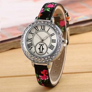 Милые часы «Botti» в стиле Cartier с римскими цифрами и узким цветочным ремешком фото. Купить