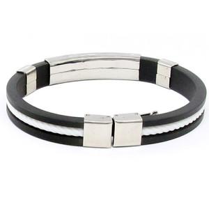 Стильный каучуковый браслет с серебристой планкой из нержавеющей стали и белым шнуром фото. Купить