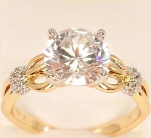 Ювелирное кольцо «Альянс» с цирконами в красивой позолоченной оправе купить. Цена 185 грн