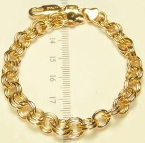 Крутой браслет в виде массивной цепи с плетением РОЛЛО и 24-х каратной позолотой купить. Цена 250 грн или 785 руб.