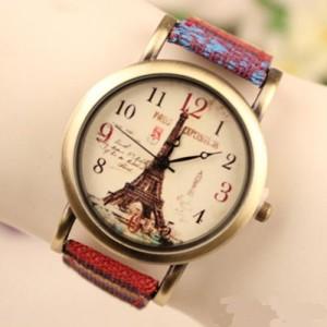 Ретро-часы «Quartz» в стиле винтаж с Эйфелевой башней в бронзовом корпусе и цветным ремешком фото. Купить
