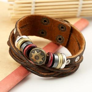 Оригинальный браслет «Капитан Америка» из натуральной коричневой кожи фото. Купить