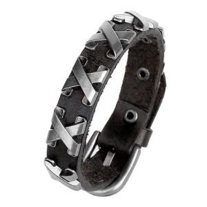 Узкий кожаный браслет с металлическими крестообразными вставками и классической пряжкой купить. Цена 165 грн или 520 руб.