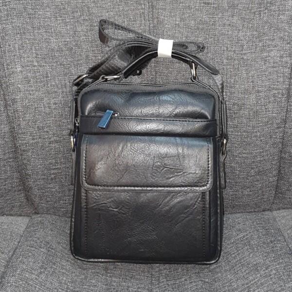 Деловая мужская сумка из фактурной экокожи чёрного цвета купить. Цена 675 грн