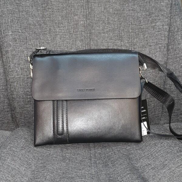 Горизонтальная мужская сумка «Eagle Power» из гладкой чёрной экокожи купить. Цена 590 грн