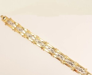 Двухцветный браслет «Алмазные звёзды» из медзолота с алмазной насечкой на звеньях купить. Цена 399 грн