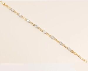 Нарядный браслет «Моцарт» с белыми кристаллами и золотым покрытием купить. Цена 299 грн