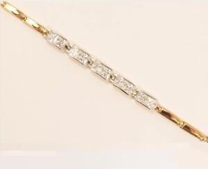 Двухцветный браслет «Пять кристаллов» с прямоугольными фианитами купить. Цена 299 грн