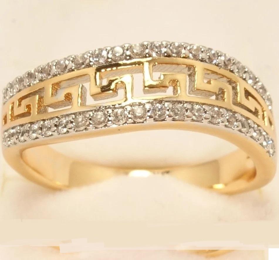 Плавное кольцо «Босфор» с меандровой линией и двухцветным покрытием купить. Цена 175 грн