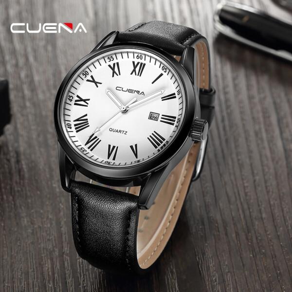 Чёрные мужские часы «Cuena» с римскими цифрами на белом циферблате купить. Цена 399 грн