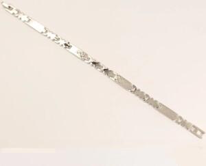 Серебристый браслет «Греческий» с красивым узором на звеньях, покрытых родием купить. Цена 199 грн