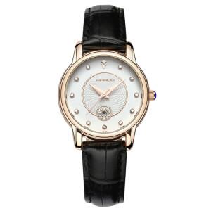 Небольшие женские часы отличного качества «Sanda» с чёрным ремешком купить. Цена 450 грн