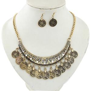 Восточный набор «Богатство» из серёжек и ожерелья в виде монеток с покрытием под античное золото купить. Цена 160 грн или 500 руб.