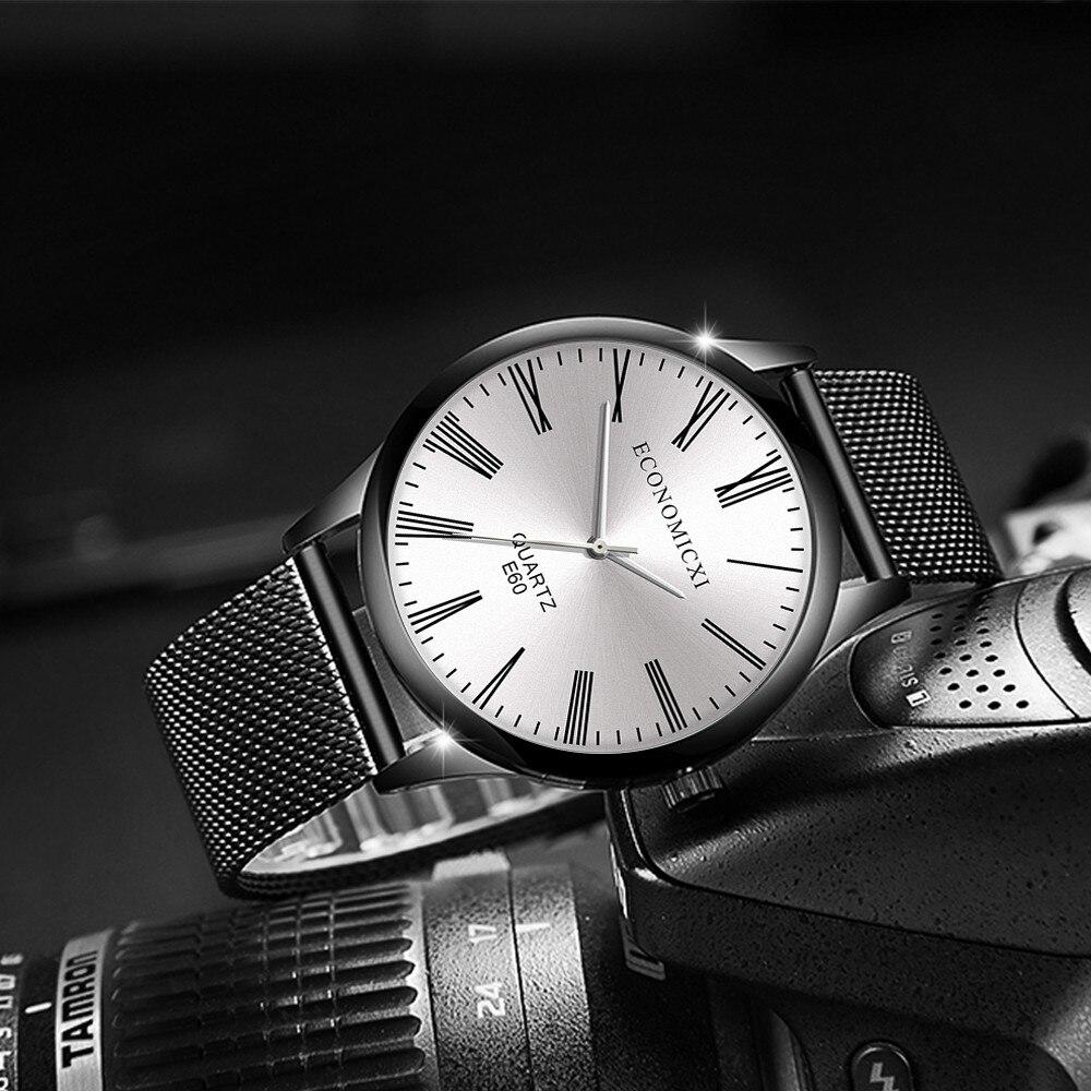 Аккуратные мужские часы «Economicxi» с римскими цифрами и ремешком-кольчугой купить. Цена 299 грн