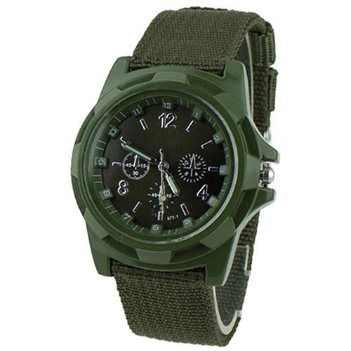 Недорогие мужские часы «Quartz» с зелёным нейлоновым ремешком купить. Цена 199 грн