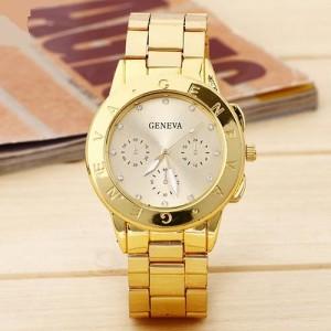 Красивые женские часы «Geneva» на металлическом браслете с покрытием под золото купить. Цена 280 грн