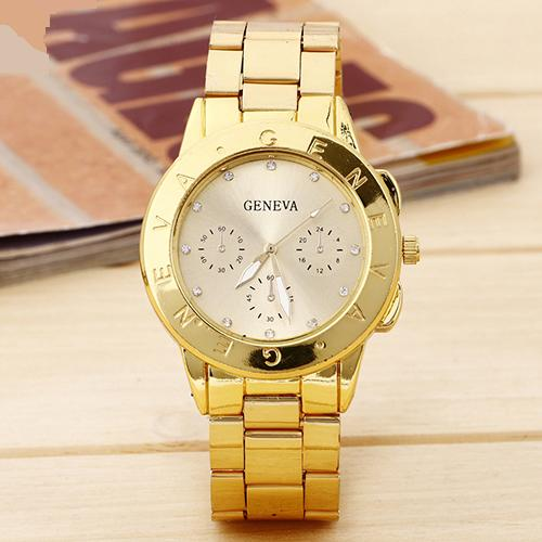 Красивые женские часы «Geneva» на металлическом браслете с покрытием под золото купить. Цена 345 грн