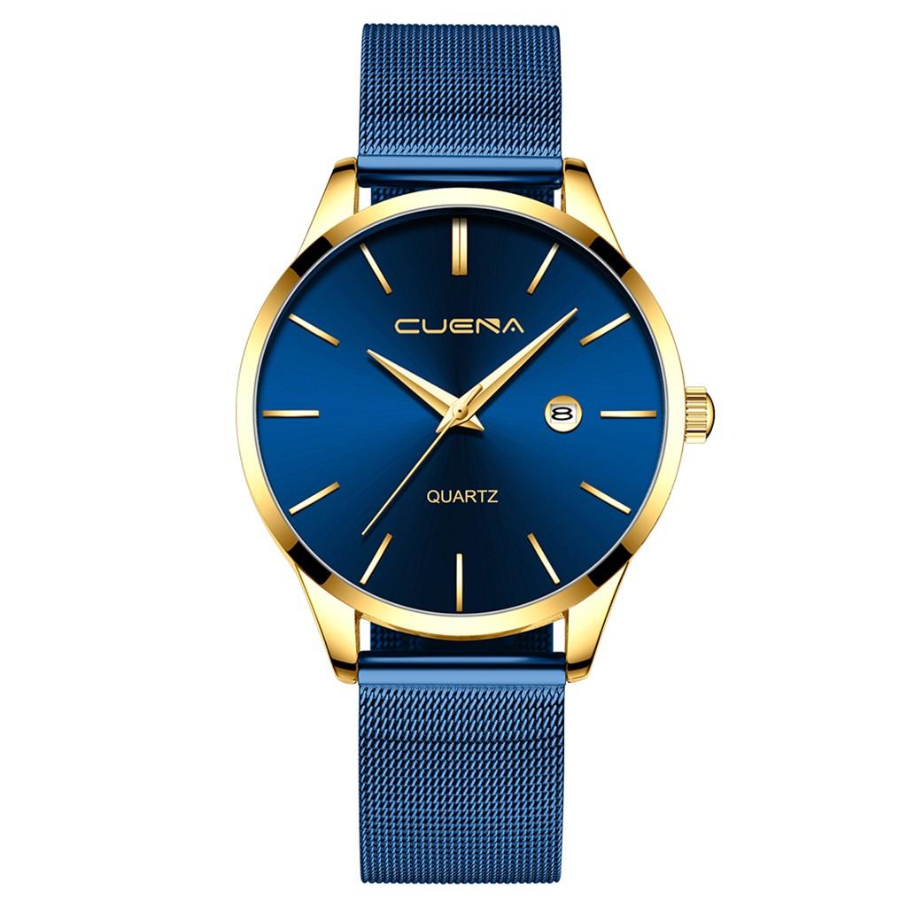 Яркие мужские часы «Cuena» с функцией даты и синим ремешком-кольчугой купить. Цена 399 грн