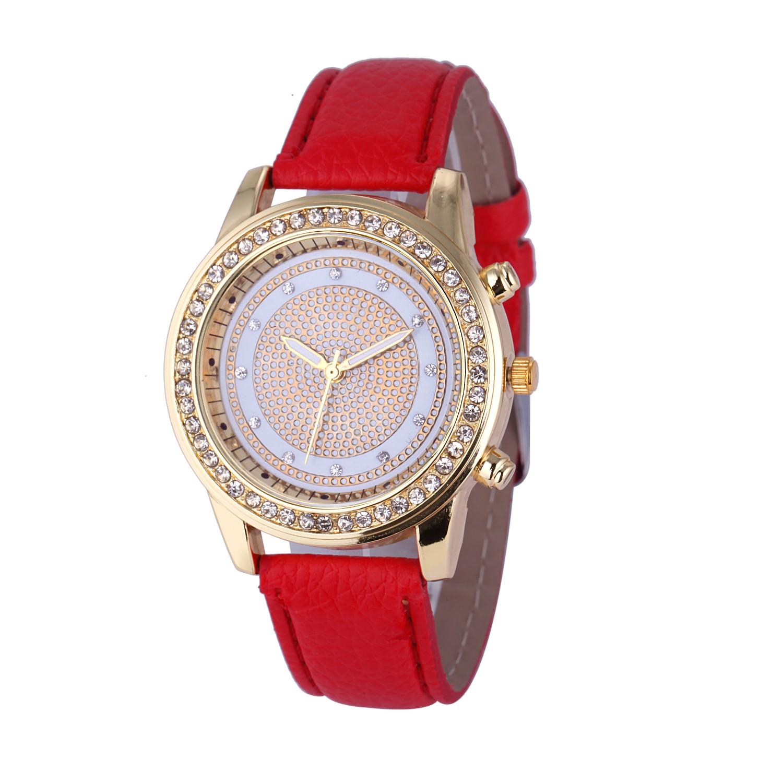 Молодёжные часы со стразами вокруг красивого циферблата и с красным ремешком купить. Цена 185 грн