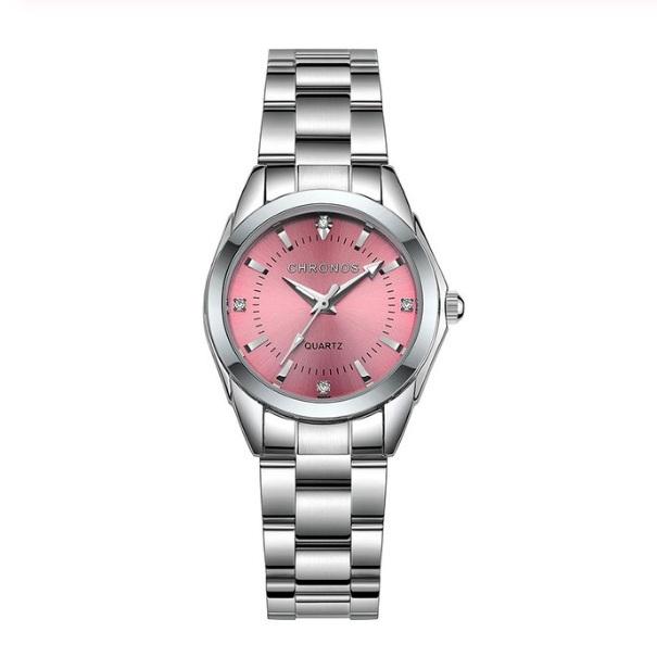 Очень красивые часы «Chronos» с розовым циферблатом и металлическим браслетом купить. Цена 840 грн