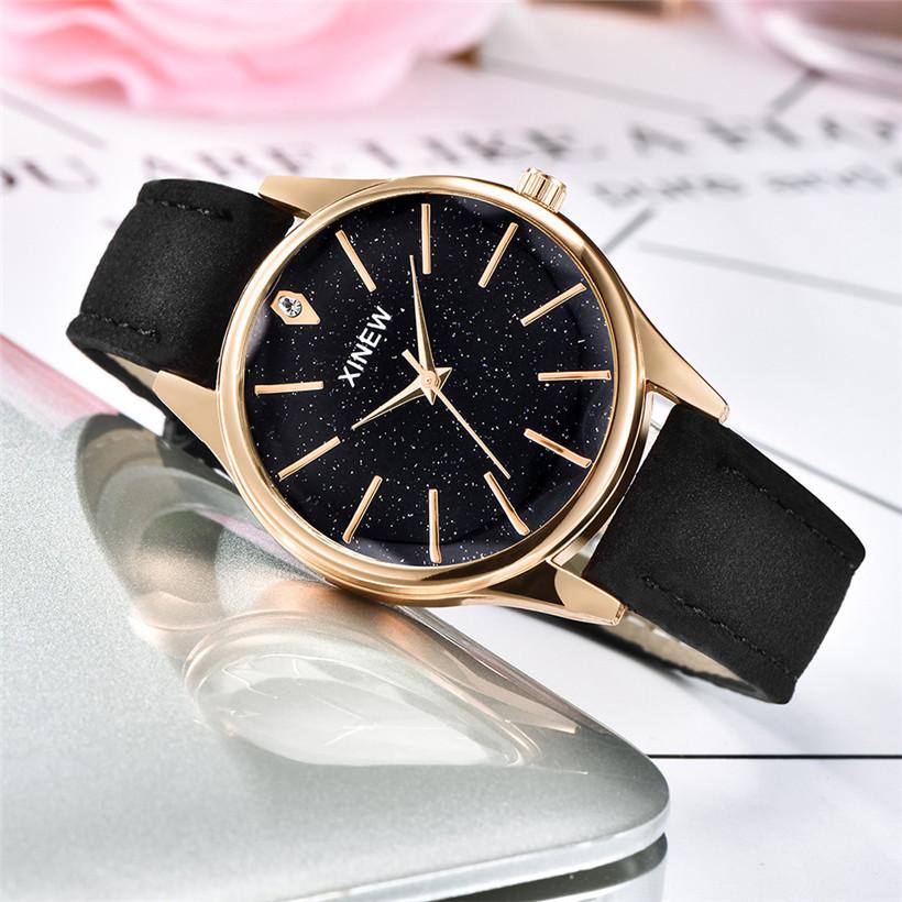 Красивые женские часы «Xinew» с объёмным гранённым стеклом и чёрным ремешком купить. Цена 299 грн