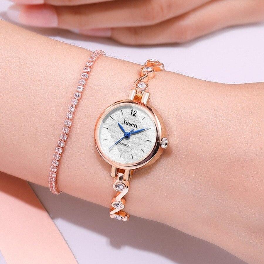 Женские часы «Jusen» с тонким металлическим браслетом золотого цвета купить. Цена 345 грн