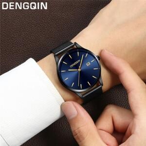Небольшие мужские часы «Dengqin» с золотыми метками на синем циферблате купить. Цена 350 грн