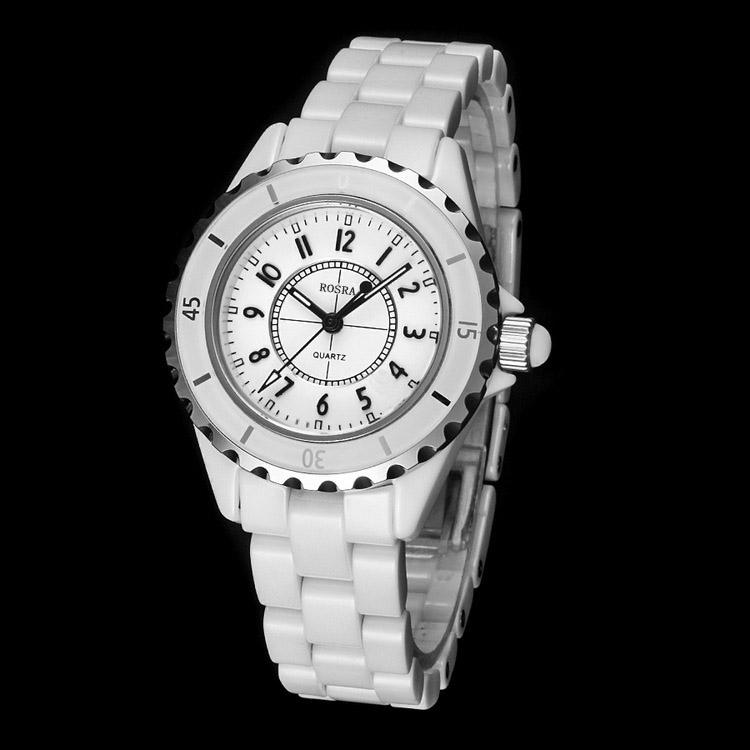 Белые женские часы «Rosra» в стиле Chanel с белым браслетом из металла купить. Цена 280 грн