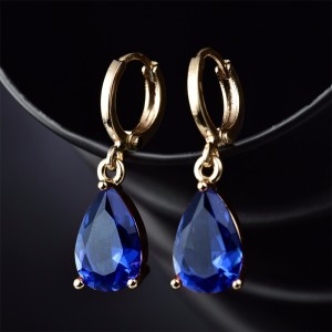 Классические синие серьги «Бонжур» с позолотой, фианитами и французской застёжкой фото. Купить