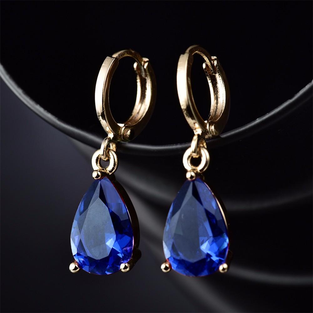 Классические синие серьги «Бонжур» с позолотой, фианитами и французской застёжкой купить. Цена 199 грн
