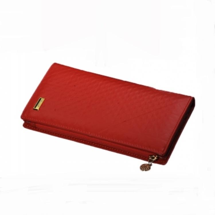 Тонкий кожаный кошелёк «Cossroll» ярко-красного цвета с красивым тиснением купить. Цена 690 грн